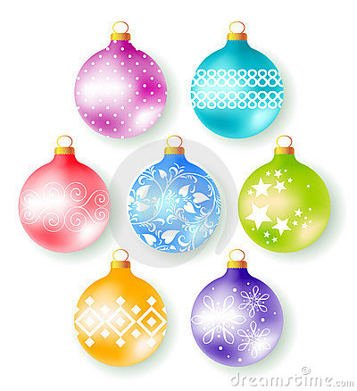 Set of 7 decorate christmas tree balls