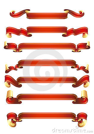Set of 7 red vector banners