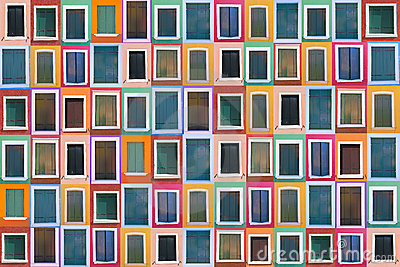 Set of 78 old color windows