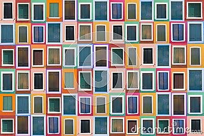 Set of 78 old color windows