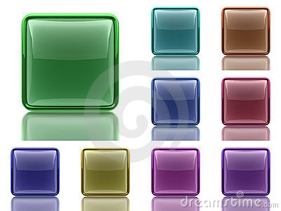 Set of 9 aqua buttons with light reflection