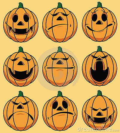 Set of 9 smiley pumpkin faces