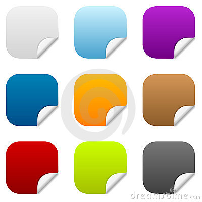 Set of 9 square sticker icons