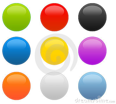 Set of 9 Web 2.0 Circular Glossy Buttons