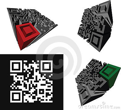 Set Of Abstract 3D  QR-code