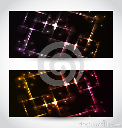 Set abstract cards with glow effects