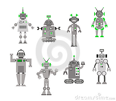 Set of abstract cartoon robots