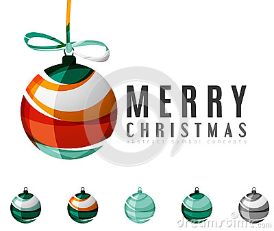 Set of abstract Christmas ball icons, business Vector Illustration
