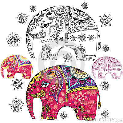 Set of abstract elephants Vector Illustration