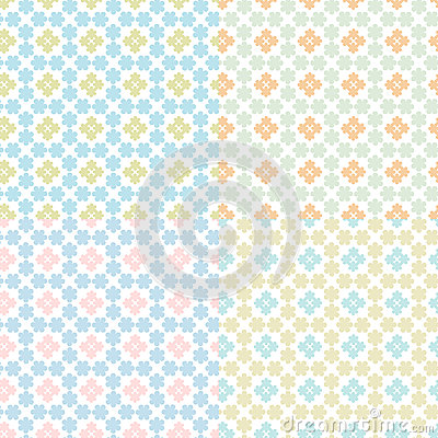 set of abstract floral geometrical seam