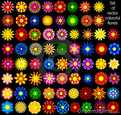 Set of  abstract florets