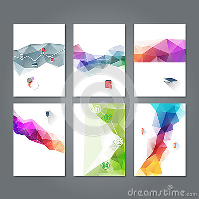 Set Of Abstract Flyer Template Geometric Triangular Abstract – Geometric Flyer Template