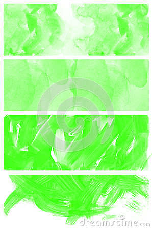 Set of abstract green watercolor hand painted