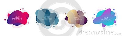 Set of 4 abstract modern graphic liquid elements. Dynamical waves colored gradient fluid forms. Isolated banners Vector Illustration