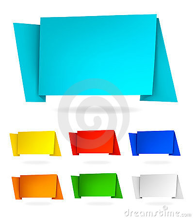 Set with abstract origami speech bubbles. Vector