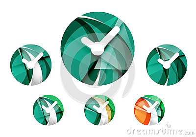 Set of abstract watch icon, business logotype Vector Illustration