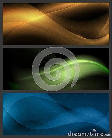 Set abstrakte Wellenmuster auf dunklem Hintergrund
