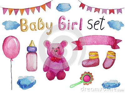 Set of accessories and items for a newborn girl, watercolor illustration isolated Cartoon Illustration