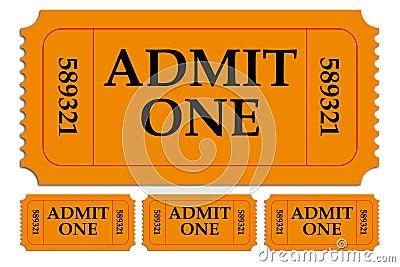 Set of Admit One Paper Tickets