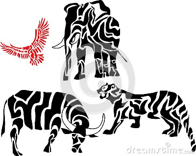 Set of african animal silhouettes