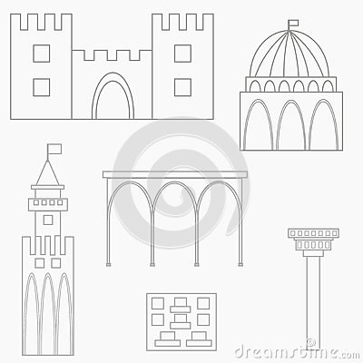 Set of african buildings