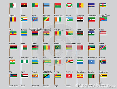 Set of African countries flags