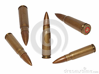 Set ak-47 bullet, isolated on white