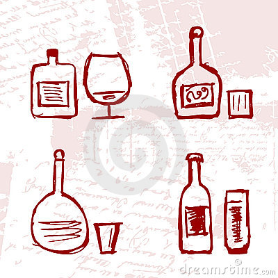 Set of alcohol s bottles and wineglasses on grung