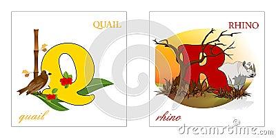 Set of Alphabet letters, Q-R