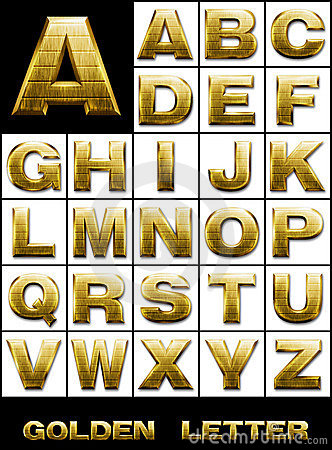 SET, Alphabetical letters in gold metal