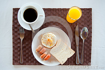 Set of American Breakfast