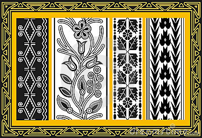 Set of ancient american indian floral patterns