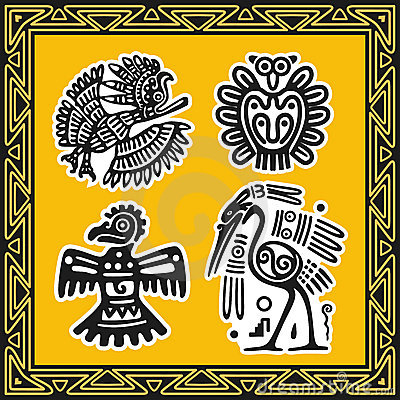 Set of ancient american indian patterns. Birds