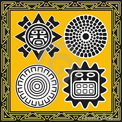Set of ancient american indian sun patterns