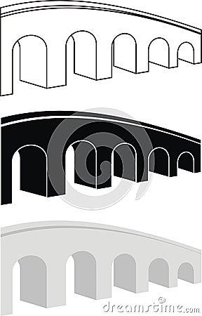 Set of ancient arch stone bridge