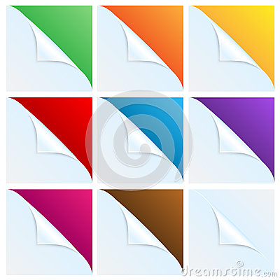 Set of angles of white paper with a colored backgr