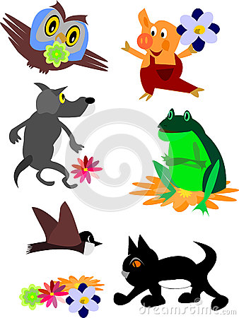 Set of animal icons and cartoons