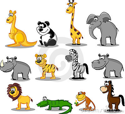 Set of animals in Africa