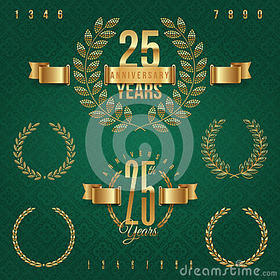 Set of anniversary golden emblems
