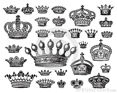 Set of antique crowns (vector)