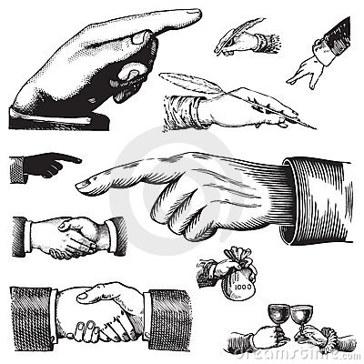 Set of antique hands (vector)