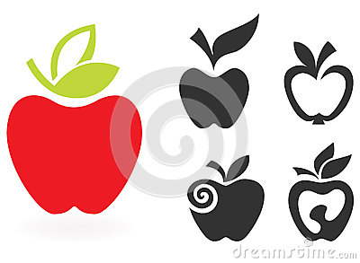 Set of apple icon isolated on white background.