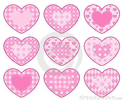 Set of applique hearts.