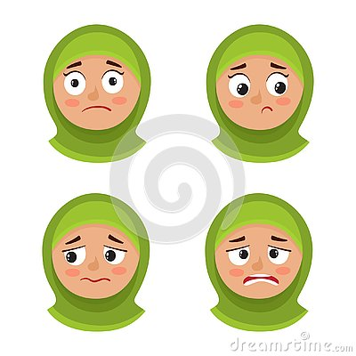 Set of arab girl with hijab upset face expression isolated on white Vector Illustration