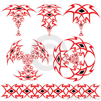 Set from the Arabian ornaments of red and black co