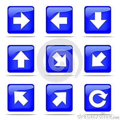 Set of arrow blue buttons