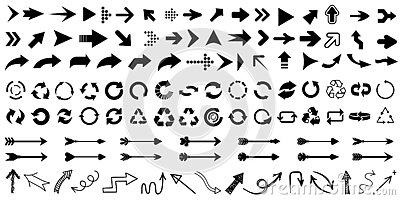 Set arrow icon. Collection different arrows sign. Black vector arrows – for stock Vector Illustration