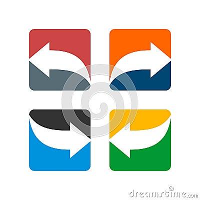 Set Arrow inside Square Logo Template Illustration Design. Vector EPS 10 Vector Illustration