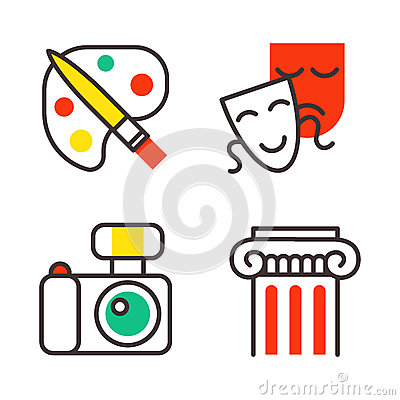 Set of art icons in flat design camera picture brush palette entertainment symbols and artist ink graphic color Vector Illustration