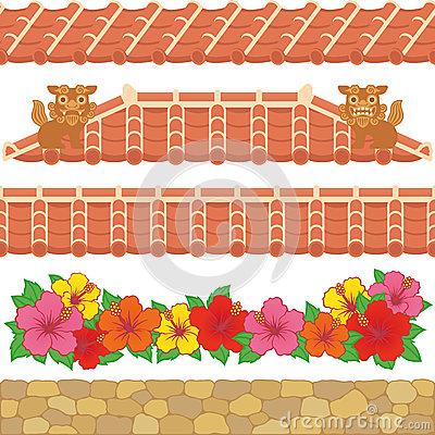 Asian red tiles.
